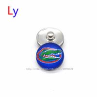 Wholesale Silver Rhinestone Bar Bracelet - Noosa chunks Pendant Bracelet 18mm Snap button buttoned Florida NACC University sports interchangeable jewelry for Sports fans NE0011