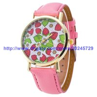 Wholesale Luxury Strawberry - Wholesales new Hot Selling Fashion Strawberry Ladies Watch Women Quartz Watch Casual Luxury Watches For Christmas
