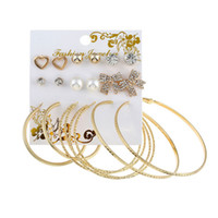 Wholesale mix match earrings - Korean style mix and match alloy stud earrings for women fashion multi-style earrings sets jewelry accessories