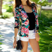 Wholesale Good Women Suit Brands - Fashion Women Floral Print Lapel Slim Casual Blazer Suit Ladies Cardigan Jacket Tops Brand New Good Quality Free Shipping