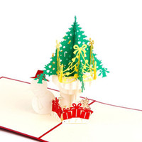 Wholesale kirigami christmas tree - New 3D Handmade Christmas Tree Snowman Card Pop Up Kirigami Xmas Greeting cards with Envelop free shipping