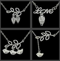 Mode Oiseau Pendentif Sautoirs Colliers Chouette Dove Branche Feuille Antique Silver Womens Chokers