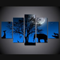 afrikanischen landschaftsmalereien großhandel-5 Panel HD Gedruckt afrikanischen elefanten landschaft Malerei Leinwanddruck raumdekor poster drucken bild leinwand cuadros de lienzo