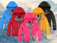 ingrosso giacche in cotone con cappuccio unisex-2018 Capispalla per bambini Ragazzo e ragazza Cappotto invernale con cappuccio caldo Piumino imbottito in cotone Giacche per bambini 3-12 anni