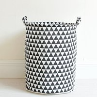 Wholesale Cloth Storage Baskets - Portable Laundry Basket Cotton&Linen Storage Barrel Folding Dirty Cloth Storage Baskets Kids Toys Sundries Organizer 35x45cm