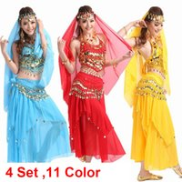 Wholesale Belly Dance Women Dress - Wholesale-Belly Dance Costume Bollywood Costume Indian Dress bellydance Dress Womens Belly Dancing Costume Sets Tribal Skirt 4pcs 1set