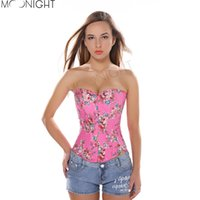 Wholesale Corset Top Patterns - Wholesale-Floral Pattern Fantasy Burlesque Denim Corset with Strapless Overbust Bustier Top Women's Waist Training Corselet