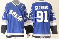 Wholesale Cheap Bolts - 2016 NHL TAMPA BAY LIGHTNING HOCKEY JERSEY #91 STEVEN STAMKOS ROYAL BLUE ALTERNATE BOLTS PREMIER STITCHED CHEAP HOCKEY JERSEY