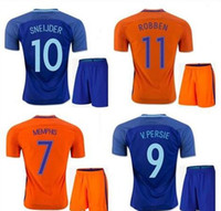 Wholesale European Football - holland Jerseys 2016 European Cup adult kit soccer jersey netherlands ROBBEN V.Persie 16 17 Dutch football shirt kits Free Shipping