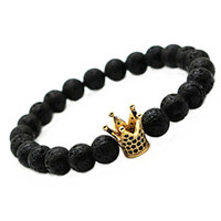 Hot Sale Micro Pave Black CZ Zirconia Gold Plated King Crown Charm Pulseira Homens Dull Polish Matte Stone Bead Bracelets For Women