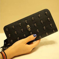 Wholesale Cool Wallets Punk - Women Cool Skull Studs Black Clutch Bags Rivets PU Leather Purse Zipper Card Holder Punk Coin Pocket Wallets