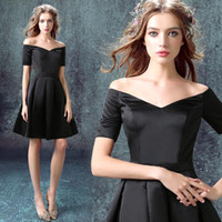 Wholesale Nude Knee Length Dresses - Black 2016 Evening Dresses Off The Shoulder Short Formal Party Dresses With Half Sleeves Plus Size Custom Made Knee Length Cocktail Dress