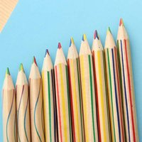 Wholesale 20pcs Fashion Rainbow Pencils in Color Pencil Stationery Children Painting Writing Pens Promotional Pens Material Escolar Papelaria