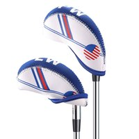 10PCS / set Neoprene Golf Club Iron Head Cover avec blanc bleu USA Flag Headcover Set Accessoires de golf en plein air