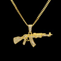 """Wholesale Ak Stainless - Mens 18k Gold Silver Plated Iced Cz Hip-Hop AK-47 Gun Pendant Necklace 3mm 24"""" long Cuban Chain Necklace Fashion Jewelry Christmas birthday"""