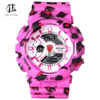 Barato Relógios De Alarme Por Atacado-Atacado-Marca Fashion Girl Studen Leopard Sport Watch Dual Display Multi-função de LED Relógio de pulso Stop Watch Alarm Clock 50M Waterproof
