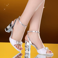Wholesale 2017 New Arrival Rhinestones Sexy High Heels Fashional Strape Lady Chunky Heel Two Color For choose
