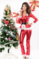 Wholesale Christmas Sexy Suit - Good Quality Christmas Costume Sexy PVC Christmas Set Santa Costumes Long Sleeve Women Suit For Christmas Party
