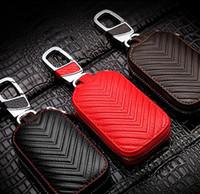 yaris uzaktan kumanda anahtarı toptan satış-Yüksek dereceli Araba Anahtarı Çantası Oto Anahtar Cüzdan zincir tutucu kapak Kılıf Tüm Araba için Deri fermuar anahtar Çanta Modeli