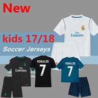 Wholesale Children S Cotton Socks - 2017 Real Madrid RONALDO kids soccer jerseys full sets with socks boys child kits 16 17 18 Home White Third JAMES BALE football shirts