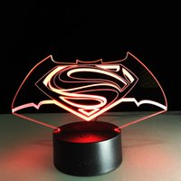 Wholesale Superman Cartoon Usb - 2017 Superman Sign 3D Optical Illusion Lamp Night Light DC 5V USB Charging AA Battery Wholesale Dropshipping Free Shipping