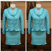 Wholesale Suit Jacket Length Chart - 2017 Sky Blue Girls Pageant Dresses With Pleated Edge Interview Suits Knee-length Girls Suits Children Outfits Formal Jacket And Skirt