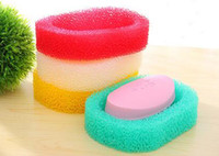Wholesale Multi Colored Sponges - 2016 Colored PU sponge Soap dish Bathroom accessories Soap shelf Holder Zakka home decoration Novelty household items