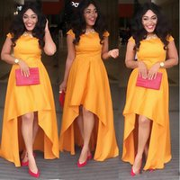 Wholesale High Low Cheap Elegant Dress - Nigeria Long Prom Dresses High Low Short Sleeve Orange African Evening Gowns 2017 Cheap Elegant Women Party Dress Custom Made Free Shipping
