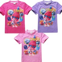 Wholesale Good Costumes For Kids - Girls Summer T-shirt The Good Luck Trolls Shirt New T-shirts for Girls Cotton Tees Kids Casual Tops Trolls Costumes