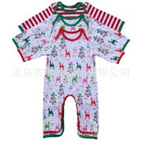 Wholesale Baby Boy Gowns - Infant Christmas Pajamas Rompers infant Personalized Spring Autumn romper Baby girl boy Deer Christmas tree print Gown 4styles 6size