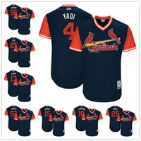 Wholesale Blue Carp - Custom St. Louis Cardinals Nickname Jersey #4 Yadi #18 Tsunami #25 Dex Grich Wach Waino Carp Navy Blue 2017 Little League World Series