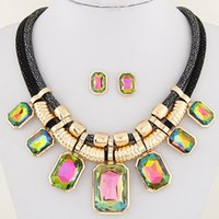 Wholesale Mixed Geometric Necklace - Gold Plated Geometric Statement Jewelry Sets Brand Crystal African Beads Jewelry Sets Square Necklaces Earrings Set For Women