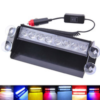 Blue Red 8 LED Auto Notfall Warnung Armaturenbrett Dash Visier Polizei Strobe Lichter Lampe 8LED Weiß Bernstein Gelb Grün Flash