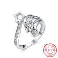Wholesale Pointed Stone Ring Wholesale - 925 Sterling Five Pointed Star There-stone Zircon Opening Wedding Ring & Classic & Elegant open & adjustable rings for Ladies & Students
