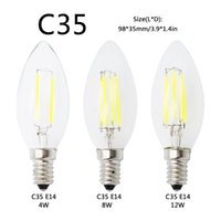 Wholesale e12 led globe bulb - in stock E27 E14 E12 Dimmable led Filament bulb 4w 8w 12w 16w High Power Glass globe bulb 110V 220V 240V Retro led Edison lamp candle lightS