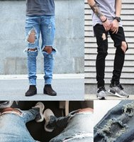 Wholesale Korean Hip Hop Clothes - 2016 New kpop skinny ripped korean hip hop fashion pants cool mens urban clothing jumpsuit men's jeans kanye west slp fear of god