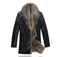 Wholesale Mens Leather Jacket Real Fur - Fall-2015 NEWS Mens Real Raccoon Fur Collar Jacket Classic Real Fur Keep warm Noble Leather Coat 1865