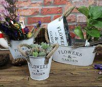 ingrosso decorazioni di fiori grande vaso-5 PZ-PACK Multi Style Grande giardino in metallo vaso fioriere in metallo decorativo vaso di fiori giardino di casa per la decorazione delle piante d'epoca