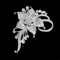 gelin broşları toptan satış-Temizle Rhinestone Çiçek Broş Pins Moda Gümüş Ton Kristal Çiçek Nergis Düğün Korsaj Parti Takı Broş Gelin Buketi Pimleri