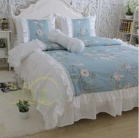 Wholesale 72 Deluxe - blue with white High quality cotton twill Deluxe big ruffles lace Korean princess bedding sets 4pcs quilt cover pillowcase bed skirt style