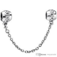 Wholesale Safety Chain Sterling - 925 Sterling Silver Heart Safety Chain Charm European Charms Beads Fit Pandora Bracelet Snake Chain Fashion DIY Jewelry 111