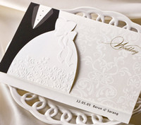 Wholesale Wedding Invitation Card Classic - Classic White-Black Bride and Bridegroom Wedding Invitations Cards, By Wishmade, BH2046