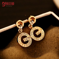 Wholesale Czech Earrings - women earrings top quality czech drill earrings with 18K gold plated ER00345 new design 2015 mix batch lover gift