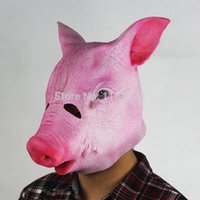 Wholesale Pig Costume Adult - High Quality Creepy Pig Latex Head Mask Halloween Realistic Costume Theater Prop Novelty Male Masks Free Shipping