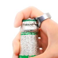 Wholesale Shaped Beer Bottle Opener - 2pcs 2016 New Arrival Unique Creative Versatile Stainless Steel Finger Ring Ring-Shape Beer Bottle Opener Bar Tool