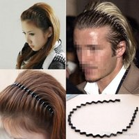 Wholesale mens head bands - Black Wavy Mens Women Unisex Hair Head Hoop Band Sport Headband Hairband Fashion