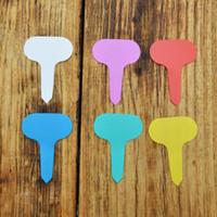 anaokulu etiketleri toptan satış-HoT Satış 200 Adet / takım T-tipi Plastik Bitki Etiketi Bahçe Bahçe Etiket Bitki Çiçek Kreş Etiket Etiket Marker Kalın Etiketleri Beyaz 6.7 * 4.8 cm