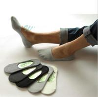 ingrosso calzini di caviglia degli uomini di bambù-Calze da barca in cotone da uomo sotto la caviglia Tinta unita Fibra di bambù Estate Comode scarpe casual in pelle calze OOA2490
