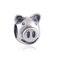 Wholesale Pig Charm Silver - crown silver pig charm 925 ale sterling silver charms loose beads diy jewelry wholesale for thread bracelet DC204