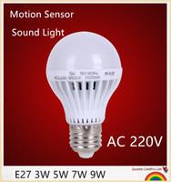 ingrosso il sensore della lampadina principale e27-10 pz E27 3 W 5 W 7 W 9 W Il sensore di movimento ha condotto il suono della lampadina E27 + controllo della luce Auto Smart Door Gate Scale Sensore di movimento Lampada